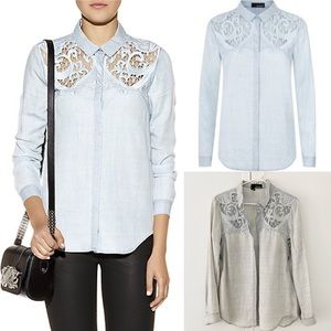 The Kooples Blue Baroque Embroidered Denim Shirt M